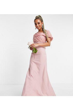 Missguided Damen Trägerlose Kleider - Bridesmaid bandeau gown with organza detail in blush-Pink