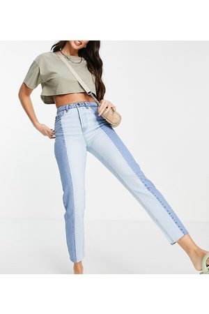 Stradivarius Tall straight leg contrast two tone jeans with raw hem in blue