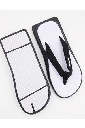 Havaianas Tradi Zori square toe flip flops in white mix