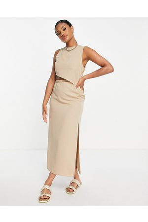 NA-KD Drawstring cut out maxi dress in beige-White