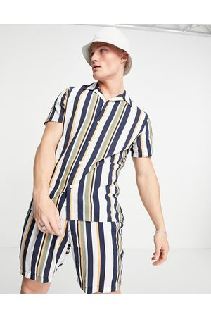 SELECTED Co-ord shirt in vertical stripe multi-Neutral