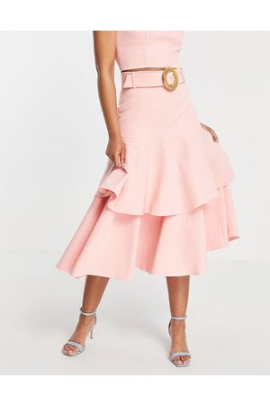 Forever New Wicker belt tiered midaxi skirt co-ord in pink