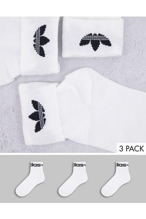 adidas 3 pack fold cuff socks in white