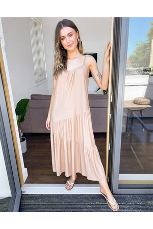 ASOS Strappy maxi dress with asym hem detail in tan-Brown