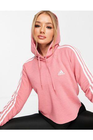 adidas performance Adidas Training cropped 3 stripe hoodie in rose pink