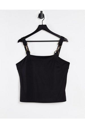 Morgan Cami strap top with buckle shoulder detail in black