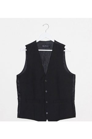 French Connection Tall slim fit tuxedo waistcoat-Black