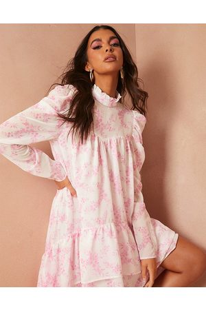 In The Style X Lorna Luxe graduated frill hem dress with full volume in pink floral print-Multi