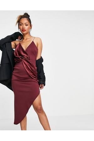 ASOS DESIGN Cami satin mix twist asymmetric midi dress in wine-Multi