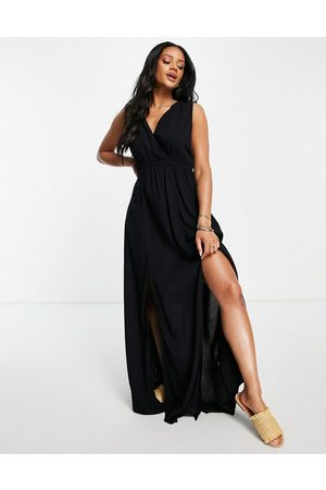 ASOS Recycled gathered detail maxi beach dress in black