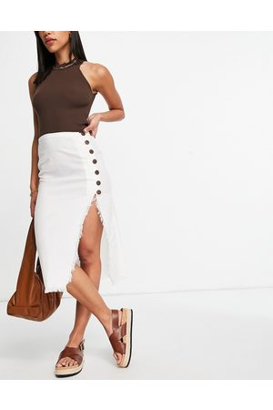 ASOS Linen look midi skirt with raw edge and button detail in white