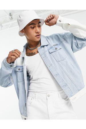 Liquor N Poker Oversized denim jacket in light blue and white patchwork