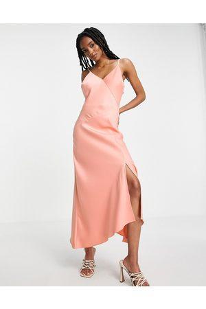 River Island Asymmetric satin midi slip dress in pink-Red