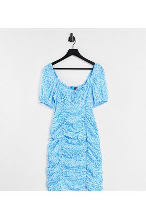 Influence Ruched mini dress in blue floral-Multi