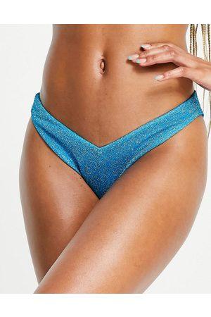 ASOS V front high leg hipster bikini bottom in blue glitter
