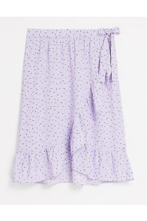 Monki Mary-lou wrap midi skirt in lilac floral print-Purple
