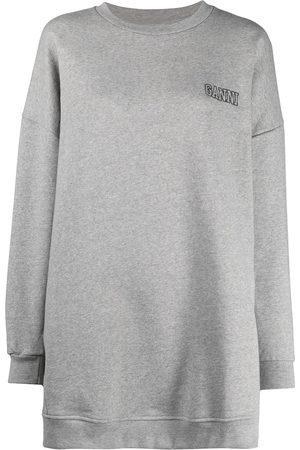 Ganni Logo-embroidered oversize sweatshirt