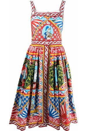 Dolce & Gabbana Damen Freizeitkleider - Carretto-print flared midi dress
