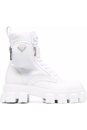Prada Herren Stiefel - Monolith leather and nylon combat boots