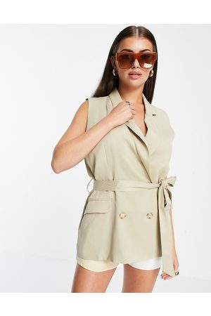 Aligne Recycled double breasted waistcoat with belt co-ord in sand-Neutral