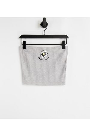 Reclaimed Damen Trägerlose Tops - Inspired bandeau top with daisy embroidered logo in grey rib co-ord-Multi