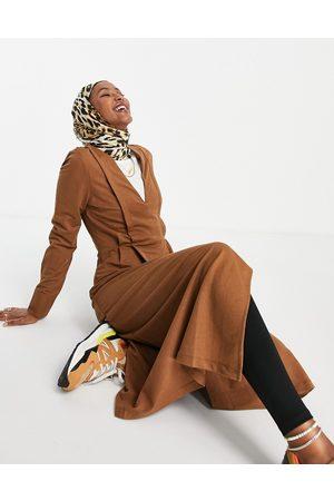 MANGO Panelled midi dress in brown