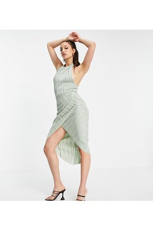 ASOS Damen Midikleider - ASOS DESIGN Tall high neck ripple texture wrap midi dress with tie back-Multi