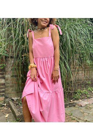 Stradivarius Tiered poplin midi dress with bunny ties in pink