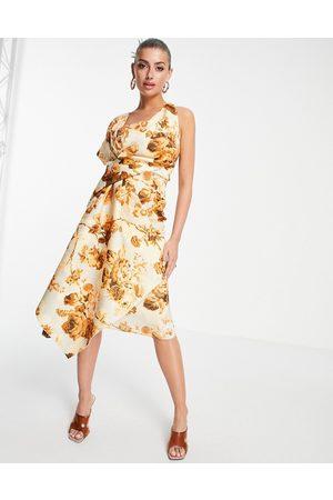 ASOS Bare shoulder pencil midi dress in floral print-Multi