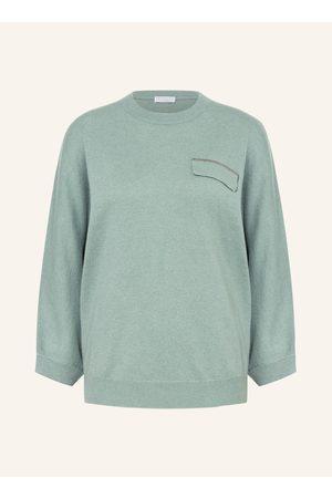 BRUNELLO CUCINELLI Damen Strickpullover - Cashmere-Pullover Mit 3/4-Arm gruen