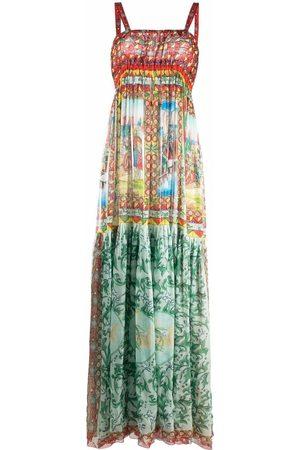 Dolce & Gabbana Damen Freizeitkleider - Carretto-print long chiffon dress