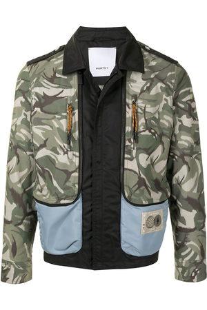 Ports V Sommerjacken - Panelled camouflage print bomber jacket