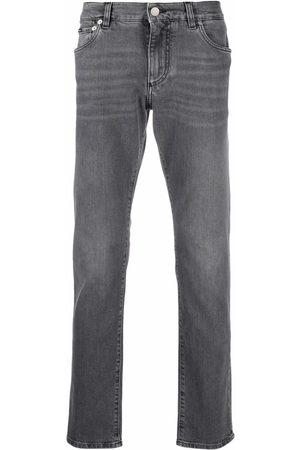 Dolce & Gabbana Herren Straight - Straight-leg logo-plaque jeans