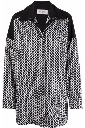 VALENTINO Damen Jeansjacken - Optical bouclé drawstring-waist jacket