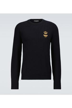 Dolce & Gabbana Herren Strickpullover - Bestickter Pullover aus Schurwolle