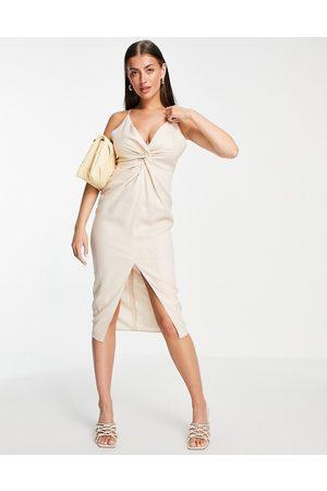 ASOS Linen plunge knot front cami midi dress-White