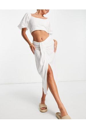 ASOS Midi skirt with drape detail in white
