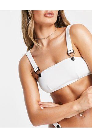 In A Seashell Power rib bikini top in white