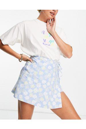 ASOS Wrap poplin skort in blue floral print-Multi