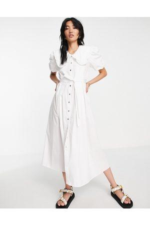 River Island Damen Freizeitkleider - Oversized collar poplin maxi dress in white