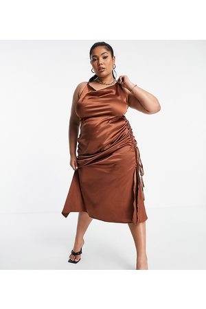 PUBLIC X Amber Gill satin strappy cami midi dress with ruched side detail in chocolate-Brown