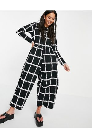 ASOS Jersey smock jumpsuit in mono grid print-Multi