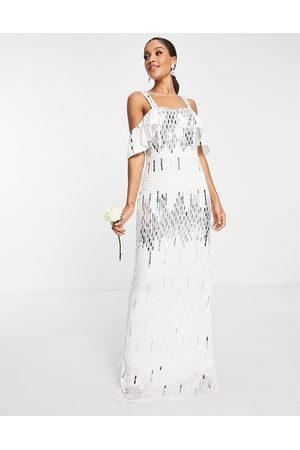 Virgos Damen Lange Kleider - Bridal embellished cold shoulder dress in white