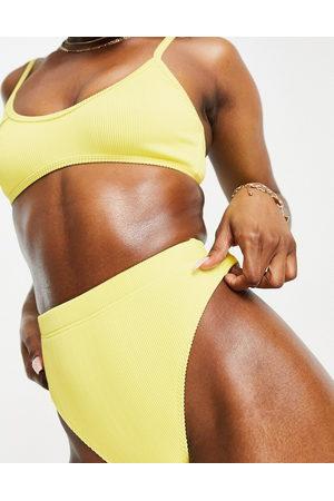 In A Seashell Damen Bikinis - Rib high waist bikini bottom in lemon-Yellow