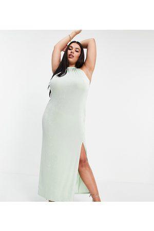 ASOS ASOS DESIGN Curve halter slinky beach midi dress in sage green