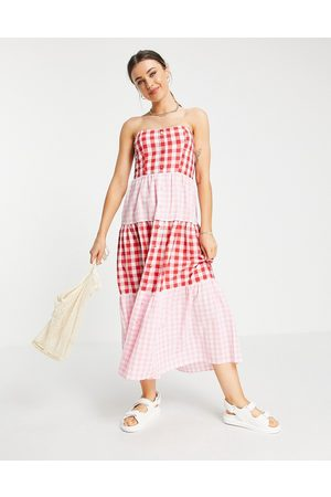 ASOS DESIGN Bandeau tiered midi sundress in mixed gingham-Multi