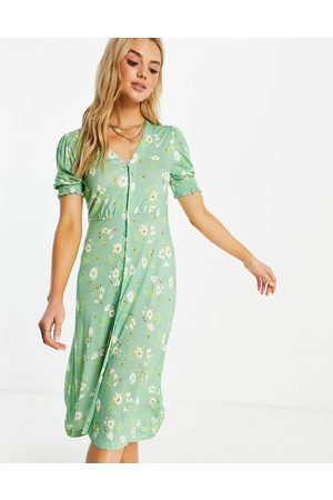 French Connection Floral midi tea dress in green