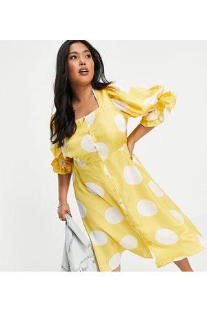 VERO MODA Puff sleeve midi dress in yellow oversized spot print-Multi