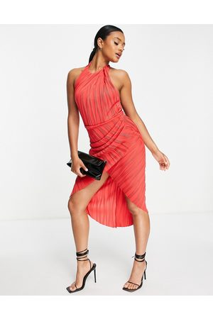 ASOS High neck ripple texture wrap midi dress with tie back in red