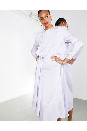 ASOS Drape front crinkle satin midi dress in washed lilac-Purple